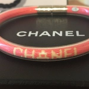 CHANEL Jewelry - CHANEL sports line pink tube bangle bracelet
